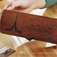 Wholesale 2016 new Eiffel Tower Wood Wooden Pen Pencil Box Stationery Storage Tidy Kids Gift