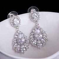 big diamond earrings - Hot Selling High Quality Elegant Chandelier Shape AAA Cubic Zirconia Diamond Long Big Crystal Bridal Earrings For Wedding Jewelry