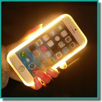 apple green color - Luxury Illuminated Phone Case Selfie Hard Cover Case with LED light for iPhone s Plus S6 S7 with Retail Package Color