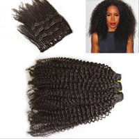 Wholesale Afro Kinky Curly Clip In Human Hair Extensions Cambodian African American Clip In Human Extensions For Black Women Clip Ins