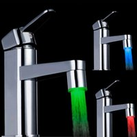 Wholesale Hot Peculiar LED Water Faucet Stream Light Colors Automatically Changing Glow Shower Tap Head Kitchen Pressure Sensor