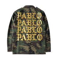 Wholesale 2016 NEW Kanye West PABLO Jacket Men Army Military Windbreak Camo Jackets Gold Letters Printed Brand Clothing Hip hop Streetwear Coat XL