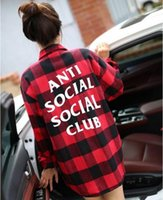 Wholesale Spring Fall anti social social club Plaid Shirts Long Sleeve Thicken hawaiian Comfort Soft Flannel fear of god Clothes shirt