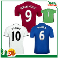 Wholesale 16 IBRAHIMOVIC POGBA United Soccer Jerseys Uniforms Goalkeeper SCHWEINSTEIGER MEMPHIS MATA ROONEY Men Manchesterees Football shirts