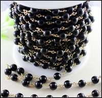 Wholesale 3 Feet Black Pearl Style Beaded Chain Gold plated Wire Wrapped Beaded Chain Black Pearl Beads Size mm Rosary chain for jewelry making