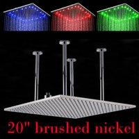bathroom ceiling light nickel - Chrome Brushed Nickel Ceiling Mounted quot Big Rainfall Shower Head Bathroom LED Light Huge inch Rain Showerhead