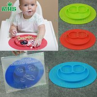 baby silicon - Happy Mat Silicone Children Kid Baby silicon bowl One piece silicone placemat with plate Baby feeding silicone cups dishes