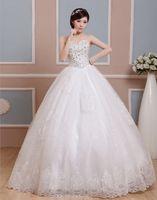 Wholesale Elegant Sweetheart Sleeveless vestido de noiva Wedding Gowns Ball Gown Beaded Crystals Sequins Bride Dresses