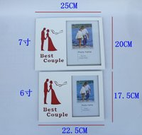 Wholesale Couples photo frame Creative romantic contracted glass wooden frame have kinds of size optional sweet couple gift
