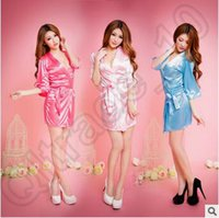 Wholesale Sexy Dressing Gown Colors Women Vogue Lingerie Satin Sleepwear Silk Detail Robe And G String Sexy Sleepwear Nightdress LJJC4622