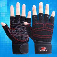 Wholesale Men Women Gym Body Building Gloves Training Sports Fitness WeightLifting Shockproof Half Finger Glove