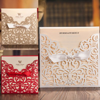 Invitations & Invitation Buckles accessories for invitations - High Quality Wedding Invitations White Champagne Red Hollow Wedding Accessories Pieces With Envelope For