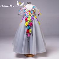 Wholesale In Stock Bright Gray V Neck Half Sleeves Tulle Flowers In Stock Flower Girl Dresses Size SF811007