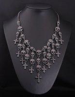 Nouveaux Collier Magnifique Collier Croix Squelette Croix Bijoux Cristal Département Déclaration Femmes Pendentif Colliers Choker