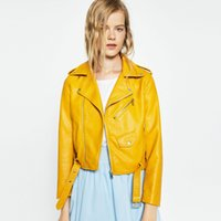 Wholesale High Quality New Autumn Fashion Street Women Short Washed PU Leather Jacket Zipper Bright Colors Ladies Coats Outerwear