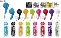 Wholesale 3 mm HA F150 for iphone Gummy In Ear earphone Headphones Headset for MP3 MP4 PSP Colorful color DHL