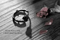 barbed rose - New Arrival Barbed Black Roses Rings Charming Women s Jewelry Rings Rose Flower Silver Plated Adjustable Finger Ring