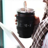 Wholesale Camera Lens Stainless Steel Cup Coffee Tea Travel Mug Thermos Lens Lid