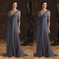 Wholesale Sexy Mother Dresses Lace V Neck Half Sleeves Chiffon Long Evening Gowns Elegant Mother Of The Bride Dress