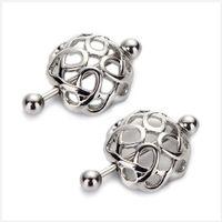 bar titanium alloys - 2pcs hollow sexy Pierced Nipple Rings Bars G L Surgical Steel nipple shield body piercing