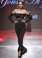 al greens - Sadui Arabia Black Two piece Lace Evening Dresses Off Shoulder Long sleeves Party Dresses Yousef Al Jasmi