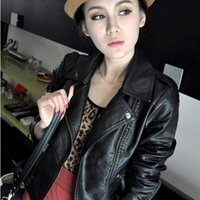 Wholesale Fashion Turn Down Collar Women Leather Jackets Slim PU Leather Motor Jacket for Women Casaco Feminino Size XL CB018
