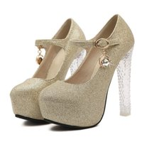 Wholesale Lady Stiletto Ankle Strap Wedding Shoes Women Fashion Thick Crystal High Heels Inside Platform Court Shoes Size K00626