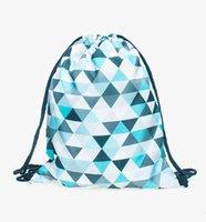azure bag - Mint triangles azure D printing backpack Women drawstring bag brand Travel bags mochila feminina Classic forever sac a dos