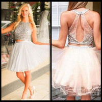 Wholesale Silver Beading Sequined Little Ivory Dresses Two Pieces Homecoming Dresses Cheap Mini Short th Junior Graduation Gowns Cocktail Dress