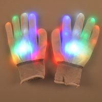 Wholesale 2016 Halloween Christmas colored LED gloves party glow gloves Concert noctilucent luminous gloves finger Flash gifts