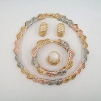 apply golds - High Quality Screw Thread Zinc Alloy Necklace Gold Yellow Jewelry Sets For Apply Wedding Party Gift Add To Female Luster