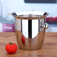 beer bucket gifts - Modern L Thicken Stainless Steel Ice Bucket Bar Practical Beer Wine Cooler Double Ears Portable Champagne Whiskey Chiller Gift