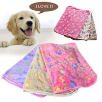 Wholesale Small Medium Size Cute Warm Pet Beds Mat Cover Paw Bone Printed Cat Dog Fleece Soft Blanket Puppy Winter Pet Supplies