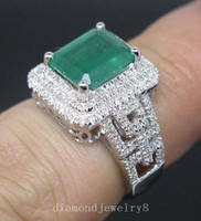 Wholesale 3 CT Solid K W Gold Genuine Natural Green Emerald Engagement Diamonds Ring