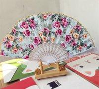 antique cotton fabric - Colored cotton golden edge folding fan Spanish fan dance fan colors via DHL