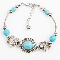 Wholesale New Arrive Turquoise Beads Silver Plated Butterfly Bracelet Handmade Accessories Fashion Jewelry Drop Shipping BL