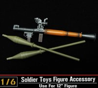 Cheap 1:6 ZY Toys Soldier Figure Toys Parts Military Army Soldier Antitank Bazooka RPG-7 WWC Wood Color Rocket Model Gun Toys Gift