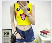 Wholesale 2016 New Harajuku Sexy Girls Cosplay Costume Poke Go Pocket Monster Sailor Moon Crystal Cute Crop Tops Vest Tank Stage Wear T Shirt