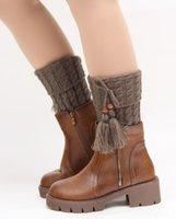 beaded tassel trim - WD0167 Women Winter Crochet Knitted Leg Warmers Trim Boot Toppers Cuffs Beaded Short Liner Leggings With Tassel