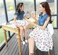 Wholesale Denim Sleeveless Dress Mother And Daughter Dresses Clothes Family Clothes Set Mother Daughter Matching Dresses Free Belt