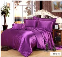 silk sheets - 100 Pure Satin Silk Bedding Set Home Textile King Size Bed Set bedclothes duvet Cover Flat Sheet Pillowcases
