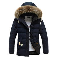Wholesale Fall New Mens Jackets And Coats Thick Fur Collar Winter Coat Men Trend Hooded Parka Blouson Homme Hiver Fashion Brand Color
