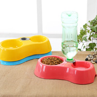 automatic cat water fountain - Dual Port Dog Automatic Water Dispenser Feeder Utensils Bowl Cat Drinking Fountain Food Dish Pet Bowl WA0670