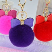 Wholesale 2016 Hot Selling Plush fur ball Real Rabbit Fur Bowknot fur pom keychain Real rex Rabbit Fur Ball Key chains fur key ring Key Chain For Bag
