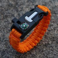 Wholesale 39Colors New Paracord Bracelet Camping Flint Fire Starter Scraper Whistle Gear Survival Paracord Bracelet Rope Self rescue Kit in