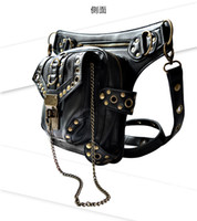 Wholesale New Women MEN Rock Leather Vintage Gothic Retro Shoulder Bag Steampunk Punk Rock Messenger Handbag Coin Purse Waist Packs leg bag