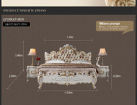 Wholesale Baroque classic bedroom furniture French royalty bed solid wood carved furniture with gold leaf gilding