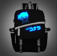 Wholesale Fashion Conan Fluorescent Backpack Cartoon Conan Luminous Backpacks Men Women Middle School Students Canvas Backpacks cm cm cm