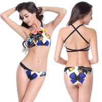 american flag butterfly - 2016 Women s swimsuit Bikini sexy swimwear waist size American flag butterfly print Split triangle swimsuit
