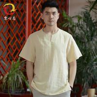 Wholesale Zero mentality T shirt male Chinese linen T shirt short sleeve shirt original wind summer men s T shirt